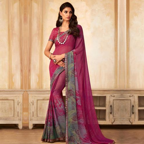 Amazing Pink Colored Partywear Printed Georgette Saree