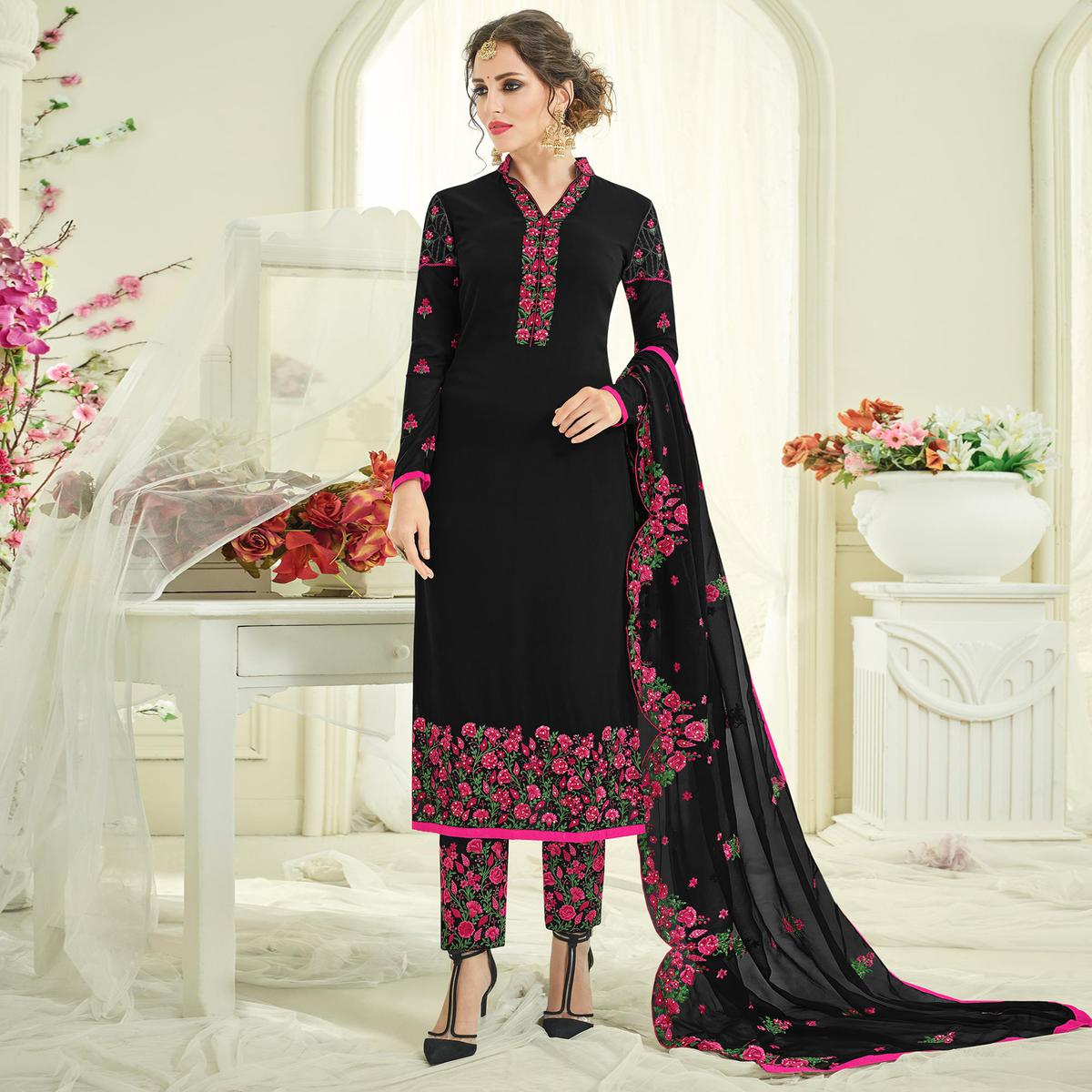 Gorgeous Black Designer Partywear Embroidered Faux Georgette Pant Style Suit