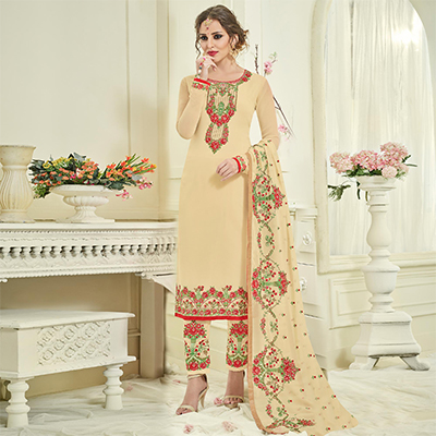 Classy Beige Designer Partywear Embroidered Faux Georgette Pant Style Suit