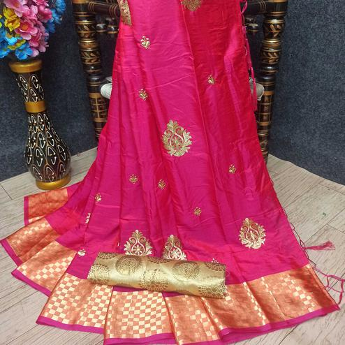 Demanding Pink Colored Festive Wear Woven Banarasi Silk Saree With Tassels