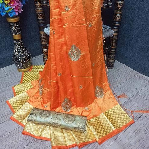 Refreshing Orange Colored Festive Wear Woven Banarasi Silk Saree With Tassels