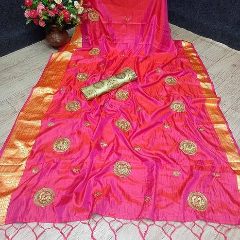 Magnetic Pink Colored Festive Wear Woven Banarasi Silk Saree With Tassels