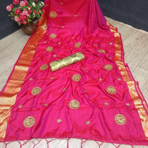Excellent Pink Colored Festive Wear Woven Banarasi Silk Saree With Tassels