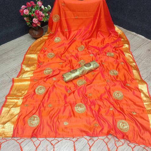 Marvellous Orange Colored Festive Wear Woven Banarasi Silk Saree With Tassels
