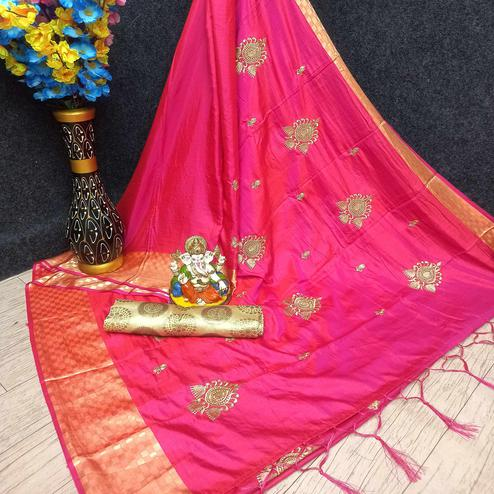 Flamboyant Pink Colored Festive Wear Woven Banarasi Silk Saree With Tassels