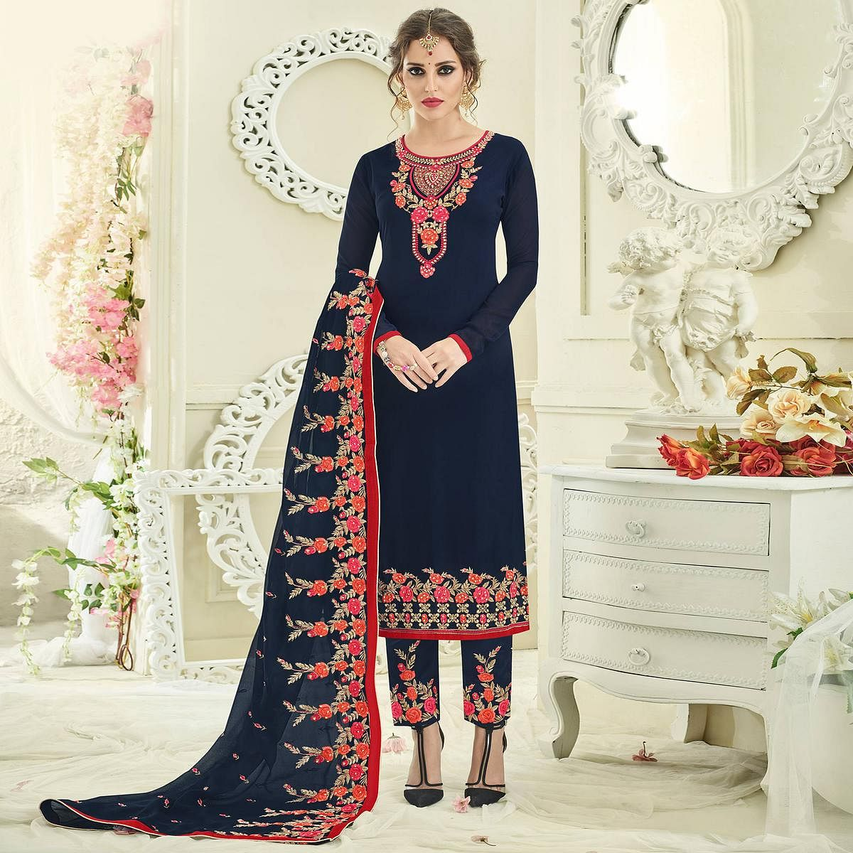 Dassling Navy Blue Designer Partywear Embroidered Faux Georgette Pant Style Suit