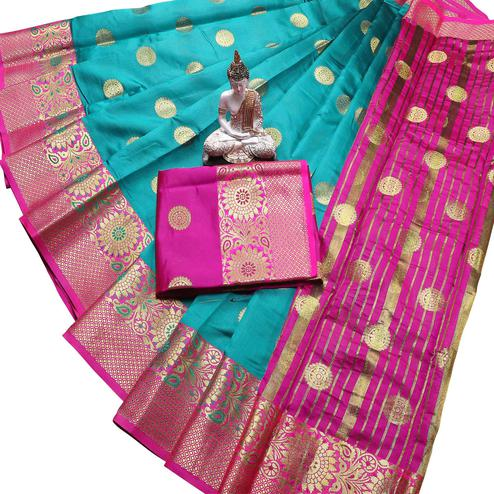 Appealing Turquoise Blue Colored Festive Wear Woven Banarasi Silk Saree With Tassels