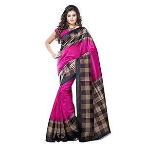 Pink - Black Art Silk Printed Saree