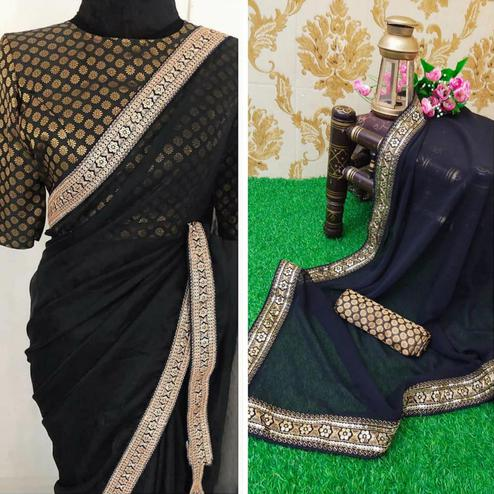 Mesmeric Black Colored Partywear Embroidered Georgette Saree