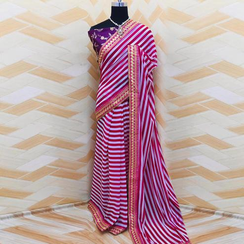 Unique White - Red Colored Partywear Stripes Printed Georgette Saree