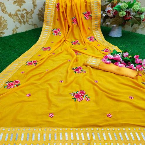 Magnetic Mustard Yellow Colored Partywear Embroidered Pure Vichitra Silk Saree