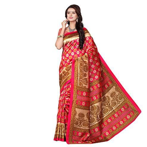 Pink Designer Festive Wear Woven Art Silk Saree