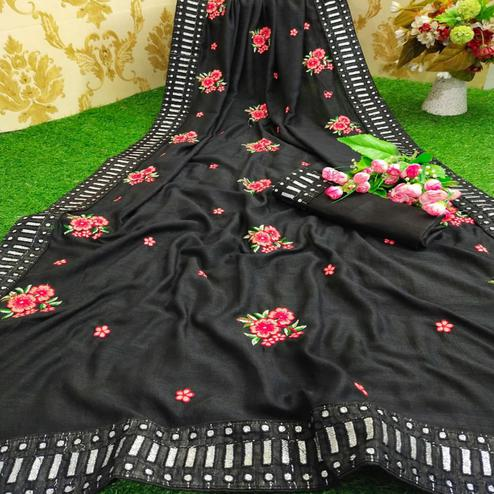 Hypnotic Black Colored Partywear Embroidered Pure Vichitra Silk Saree