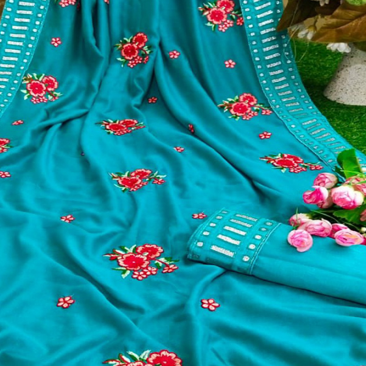 Marvellous Firozi Colored Partywear Embroidered Pure Vichitra Silk Saree