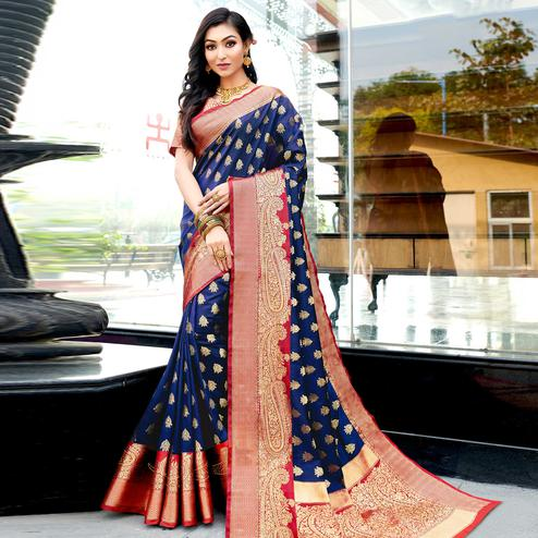 Flaunt Navy Blue Colored Festive Wear Woven Silk Saree