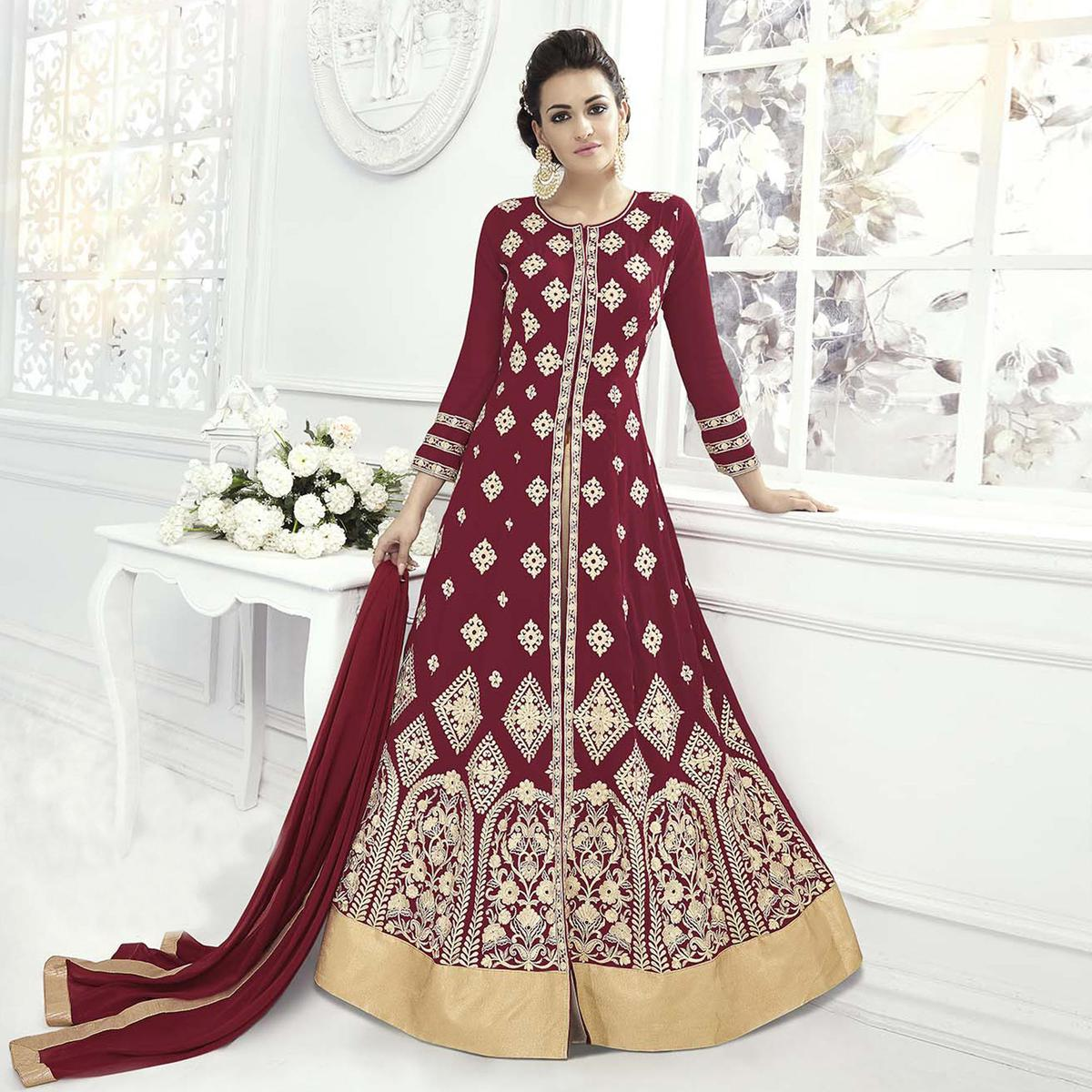 Beautiful Maroon Designer Embroidered Front Slit Georgette Lehenga Kameez