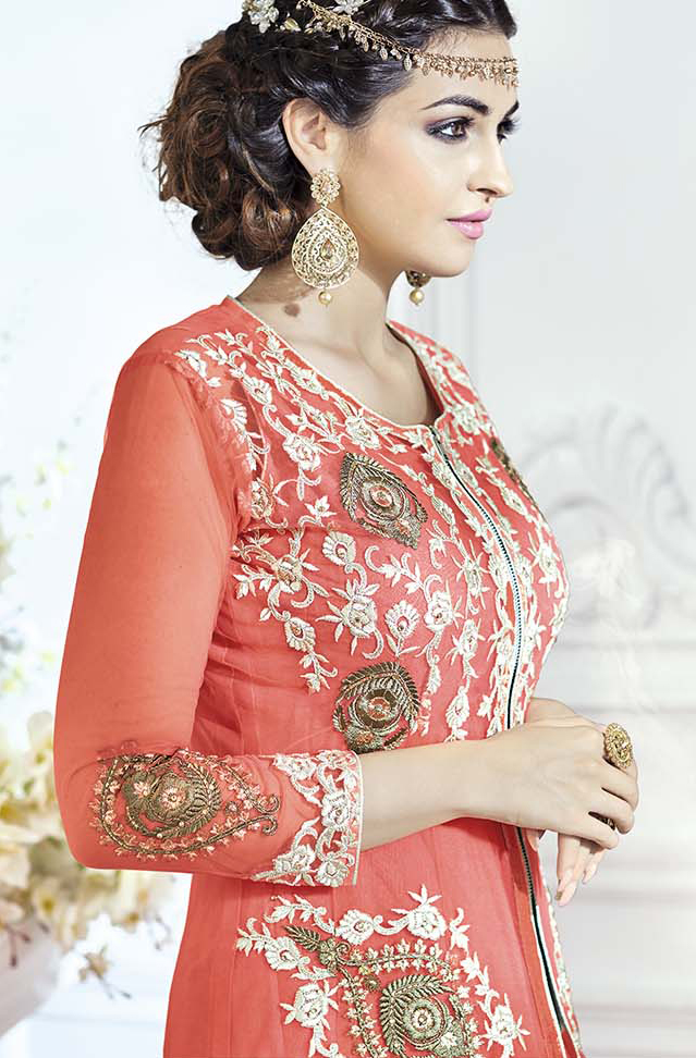 Gorgeous Peach Designer Embroidered Front Slit Heavy Net Lehenga Kameez