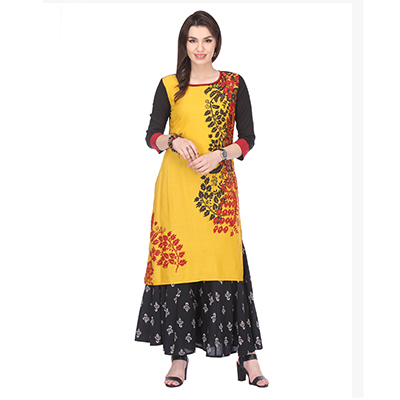 Yellow Floral Printed Stitched Kurti