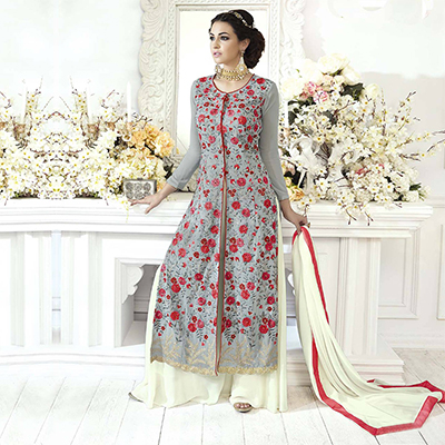 Mesmerising Gray Designer Embroidered Front Slit Georgette Anarkali Palazzo