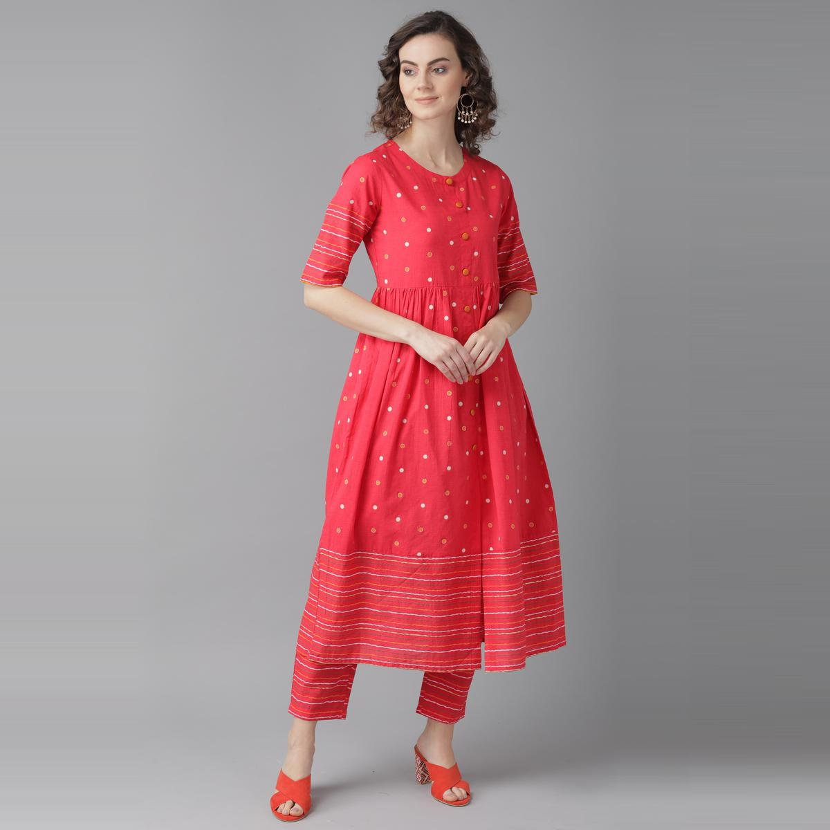 Indo Era - Pink Foil Printed A-Line Kurta with Trouser Sets