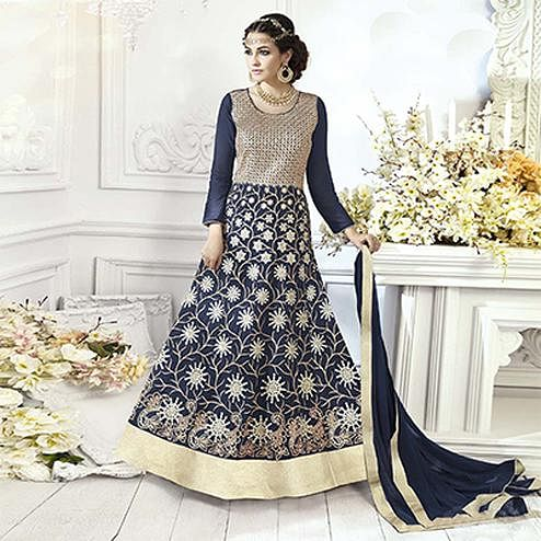 Attractive Navy Blue Designer Embroidered Georgette Abaya Style Anarkali Suit