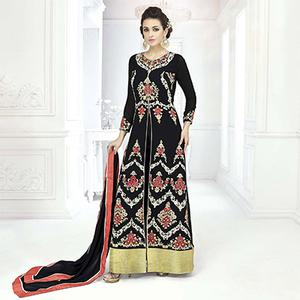 Sizzling Black Designer Embroidered Front Slit Georgette Abaya Style Anarkali Suit