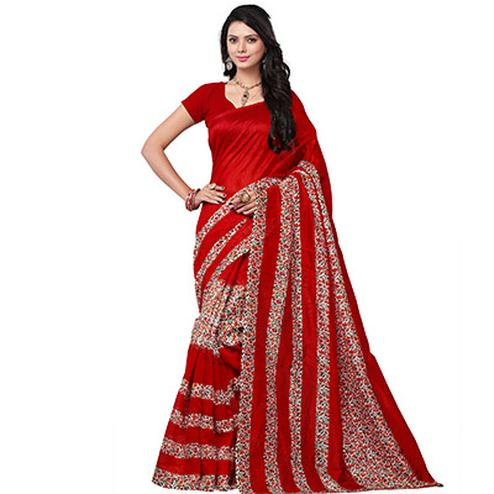 Red Floral Printed Bhagalpuri Silk Saree