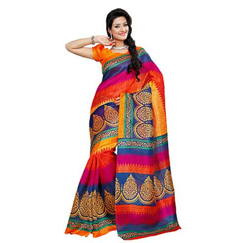 Multicolor Bhagalpuri Silk Saree