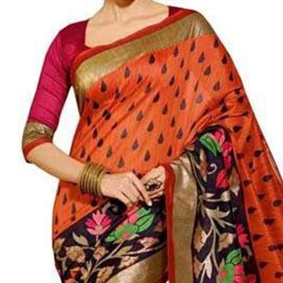 Orange Bhagalpuri Saree