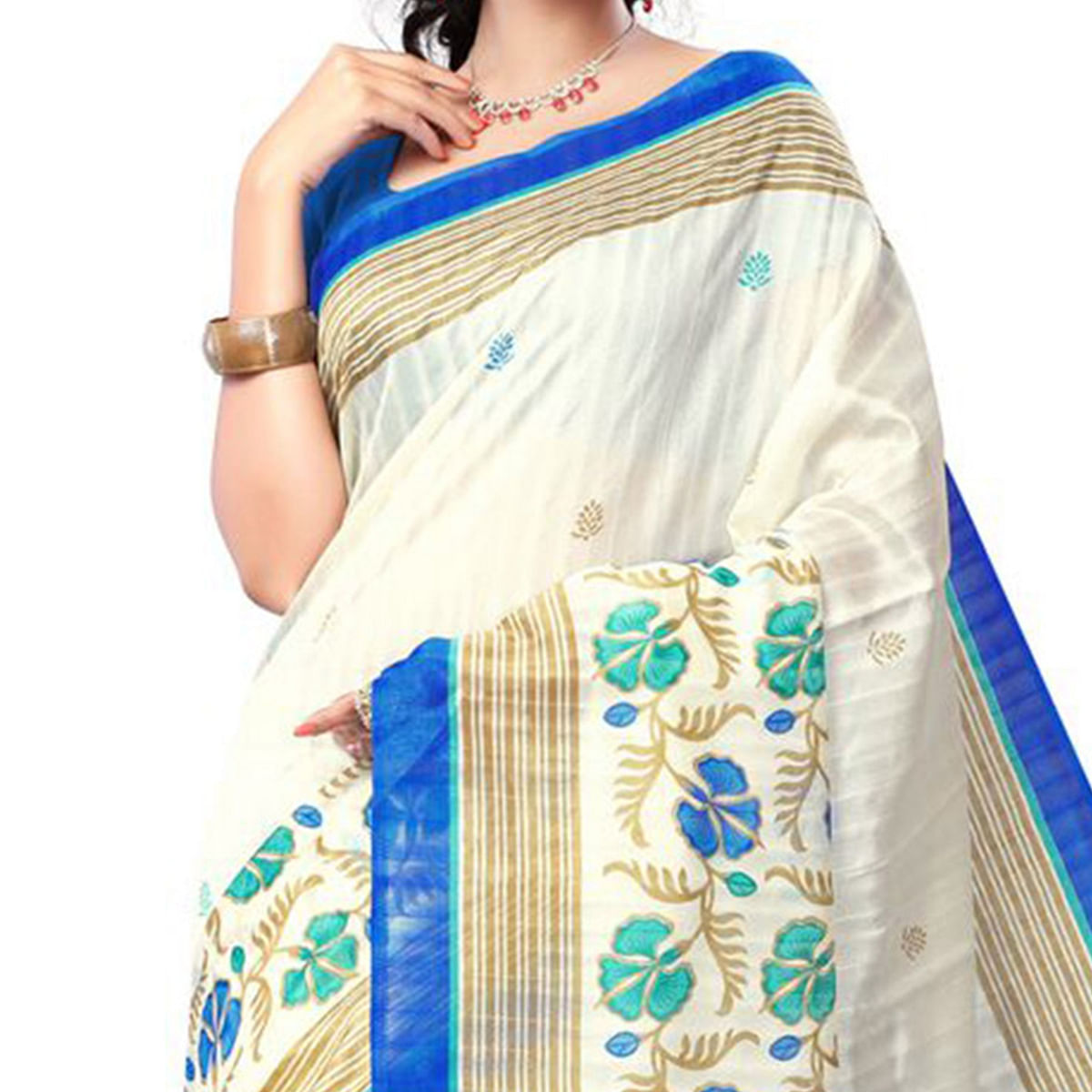 Cream Bhagalpuri Silk Saree