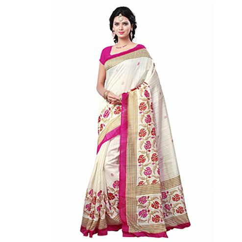 Cream - Pink Casual Printed Saree