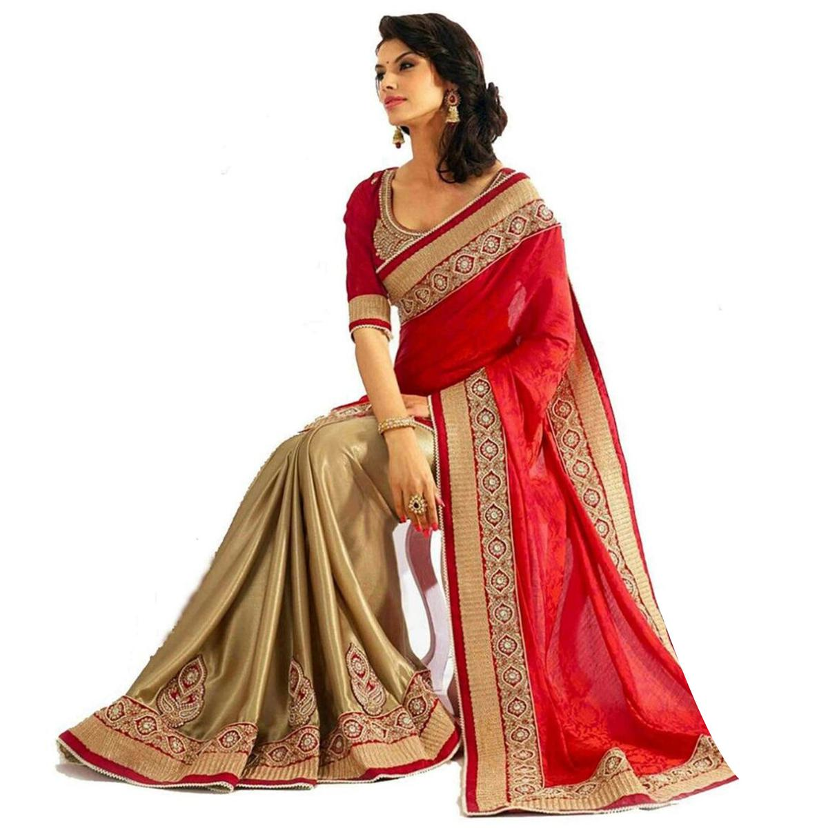 Ravishing Red-Gold Partywear Embroidered  Lycra And Georgette Brasso Saree