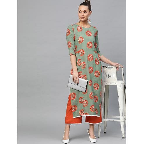 Indo Era - Printed Straight Kurta with Palazzo Set
