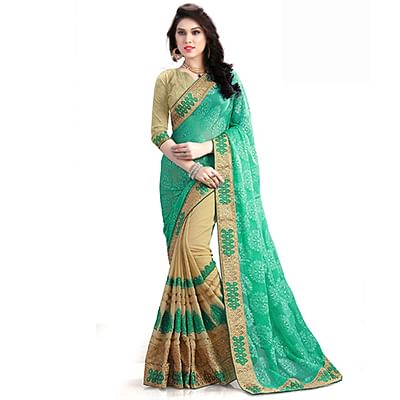 Lovely Sea Green-Beige Designer Foil Printed And Embroidered Half N Half Georgette Saree