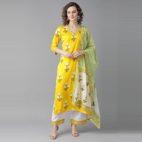 Indo Era - Yellow Khari Printed Straight Kurta with Palazzo Sets