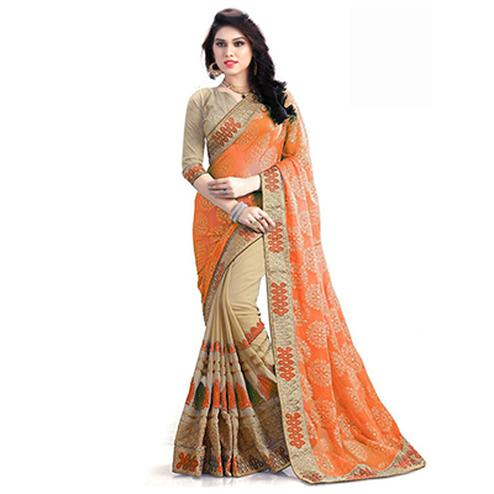 Flamboyant Orange-Beige Designer Foil Printed And Embroidered Half N Half Georgette Saree