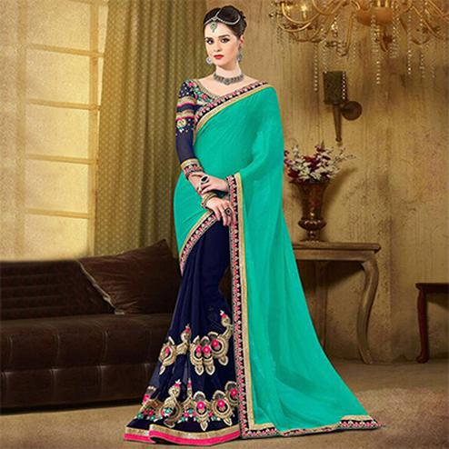 Beautiful Green-Blue Embroidered Georgette Saree