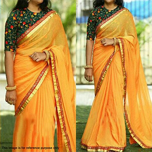Lavishing Yellow Partywear Embroidered Marble Art Silk Saree