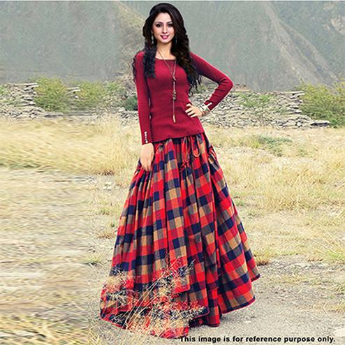 Stylish Maroon Top With Plaid Checks Banglori Silk Lehenga