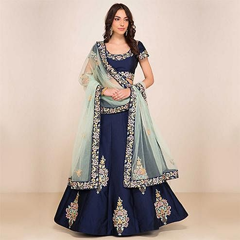 Mesmerising Navy Blue Designer Embroidered Tapetta Silk Lehenga Choli