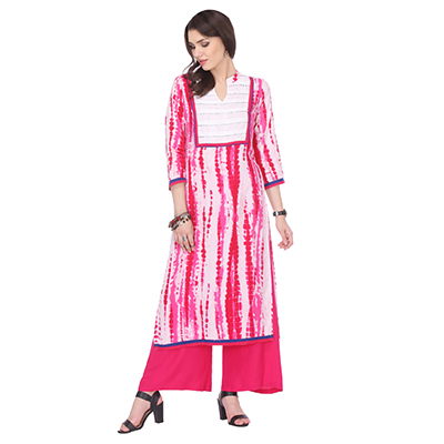 Pink - White Abstract Design Kurti