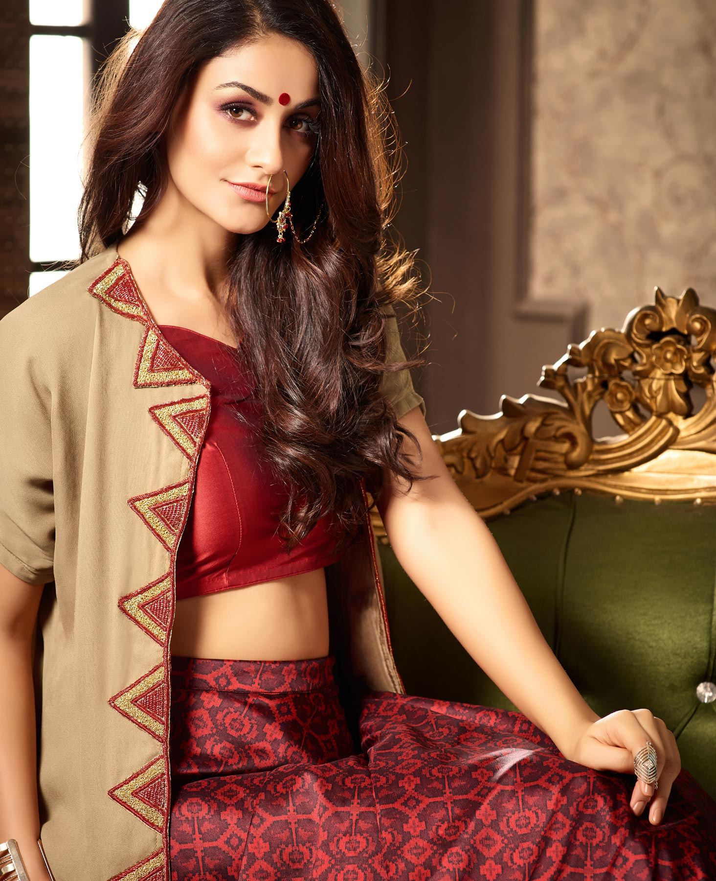 Stylish Beige-Red Designer Partywear Printed Tapetta Silk Lehenga Choli