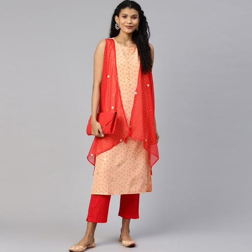 AHALYAA - Peach Colored Printed Crepe Kurta with Attached Shrug