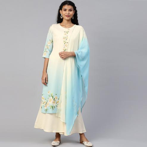 AHALYAA - Cream Blue Colored Printed Crepe Sharara Kurta Dupatta Set