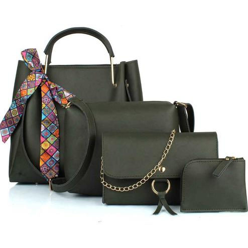 Tmn - Combo Of Green Ribbon Handbag With Sling Bag And Golden Chain Bag And Coin Pouch