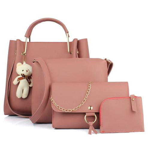 Tmn - Combo Of Pink Teddy Handbag With Sling Bag And Golden Chain Bag And Coin Pouch