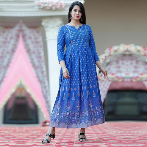 TrendMe - Blue Colored Rayon Gold Printed Long Kurti