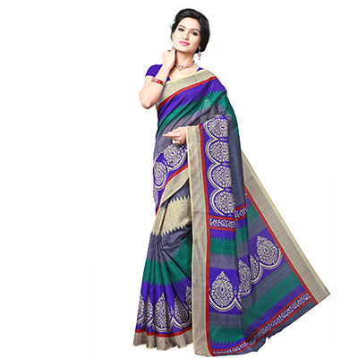 Multicolored Casual Printed Silk Saree