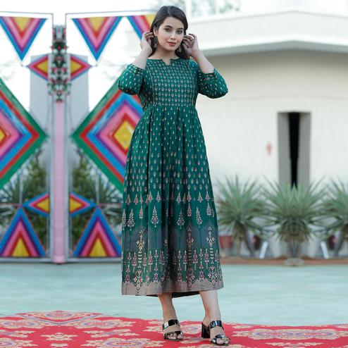 TrendMe - Green Colored Rayon Gold Printed Long Kurti