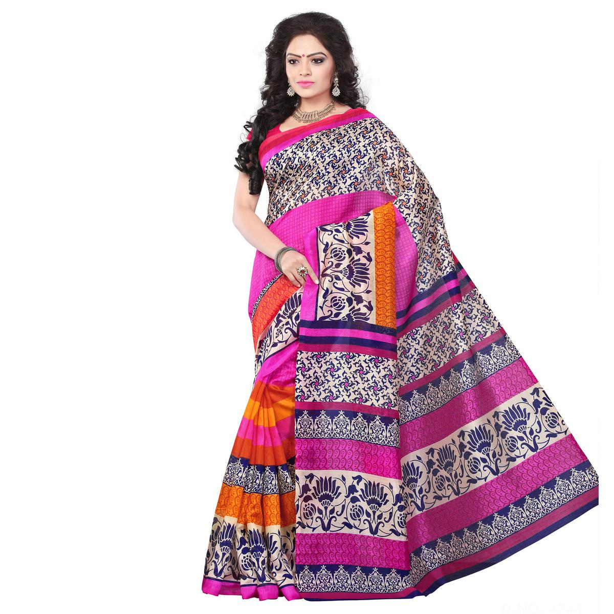 Multicolored Printed Bhagalpuri Silk Saree